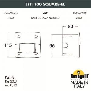 Светильник для подсветки лестниц встраиваемый FUMAGALLI LETI 100 Square-EL 3C3.000.000.AYG1L
