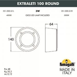 Светильник для подсветки лестниц накладной FUMAGALLI EXTRALETI 100 Round 2S1.000.000.LYG1L
