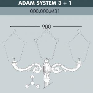 Консоль для паркового фонаря FUMAGALLI ADAM SYS 3L+1 000.000.M31.A0