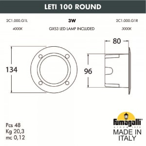 Светильник для подсветки лестниц встраиваемый FUMAGALLI LETI 100 Round 2C1.000.000.WYG1L