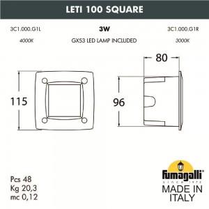 Светильник для подсветки лестниц встраиваемый FUMAGALLI LETI 100 Square 3C1.000.000.WYG1L