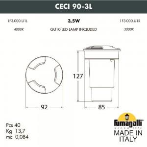 Грунтовый светильник FUMAGALLI CECI 90-3L 1F3.000.000.LXU1L