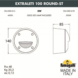 Светильник для подсветки лестниц накладной FUMAGALLI EXTRALETI 100 Round-ST 2S4.000.000.AYG1L