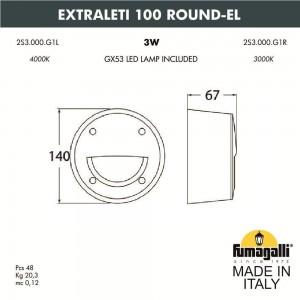 Светильник для подсветки лестниц накладной FUMAGALLI EXTRALETI 100 Round-EL 2S3.000.000.AYG1L