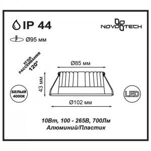 Светильник светодиодный встраиваемый NOVOTECH DRUM 357908
